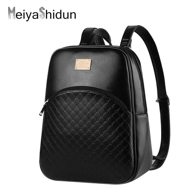 Винтаж из искусственной кожи Рюкзаки Для женщин небольшой рюкзак женский Летняя школьная сумка для подростков Обувь для девочек Школьный Д...