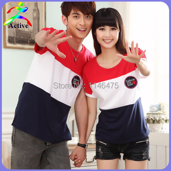 cff12eccd0 Hot Selling Fashion Korean Style Lover Couple Clothes Stripe Casual Cotton  T-Shirt Couples Shirts And Lovers Free Shipping O3693