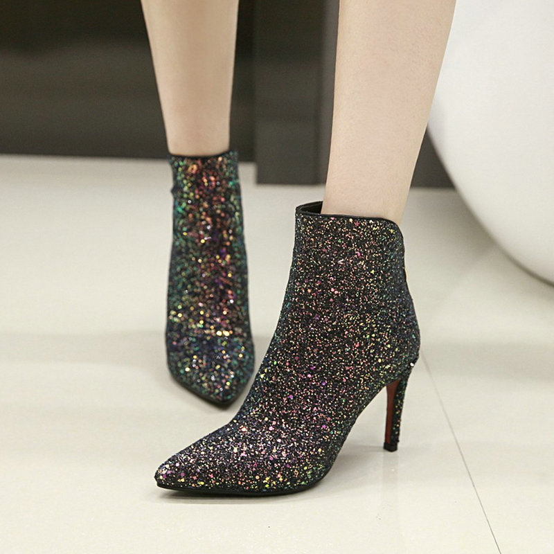 Sexy Sequined Cloth Ankle Boots Women Fashion Thin High Heels Zipper Pointed Toe Fall Winter Wedding