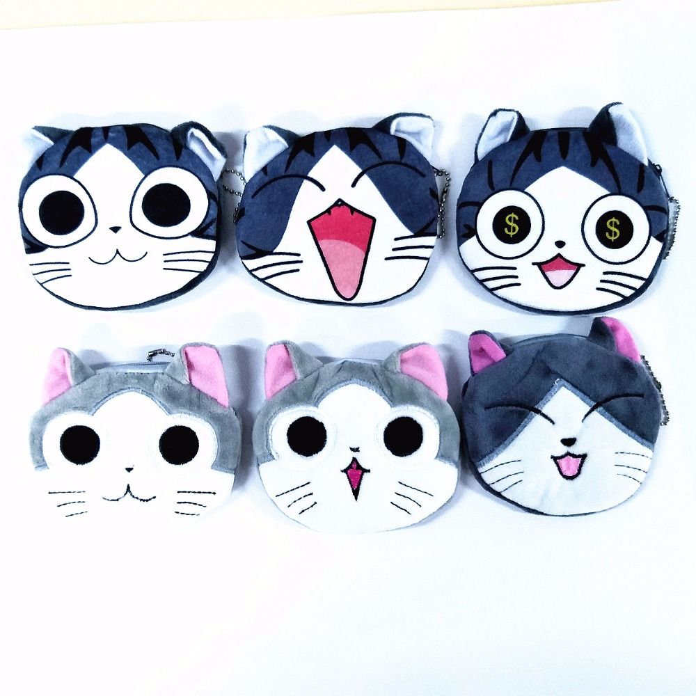 M152 Cute Cartoon Cat Plush Zero Wallet Girl Women Student Bag Gift Wholesale