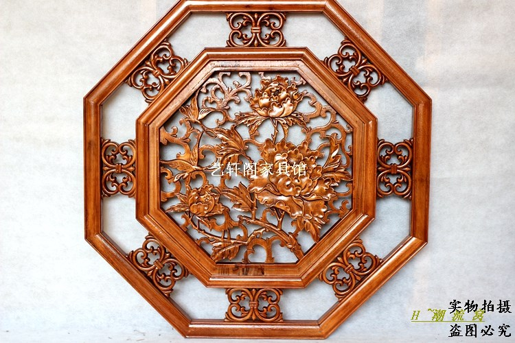 Dongyang woodcarving doors and Windows partition wall hanging screen Chinese antique camphorwood octagonal rich flower pendant 8 цена 2017