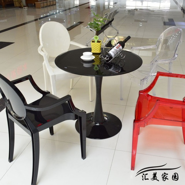 Europea mesa redonda mesa de café informal vidrio Ikea mesa y sillas ...