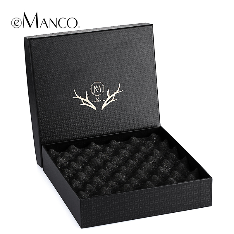 Black Jewelry Gift Box, Necklaces Box with Shockproof Bubble pad 18*18*4 High Quality Packaging Display free Shipping eManco