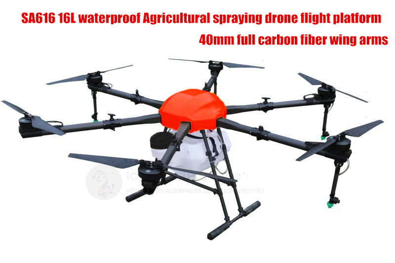 SA616 16L / 16KG waterproof Agricultural spraying drone flight platform  40mm full carbon wing arms stronger than E616