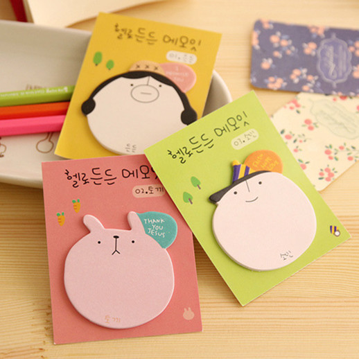 3Pcs/lot Cartoon head portrait sticky sticky Notepad/ memo pads/ sticky note /label /message post marker / note paper Stationery