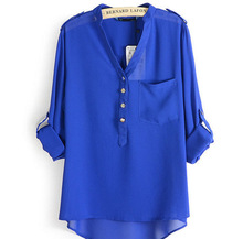 Loose Solid Color Long Sleeve Chiffon Women Blouse White Black Blue Women Chiffon Blouse Metal Buckle