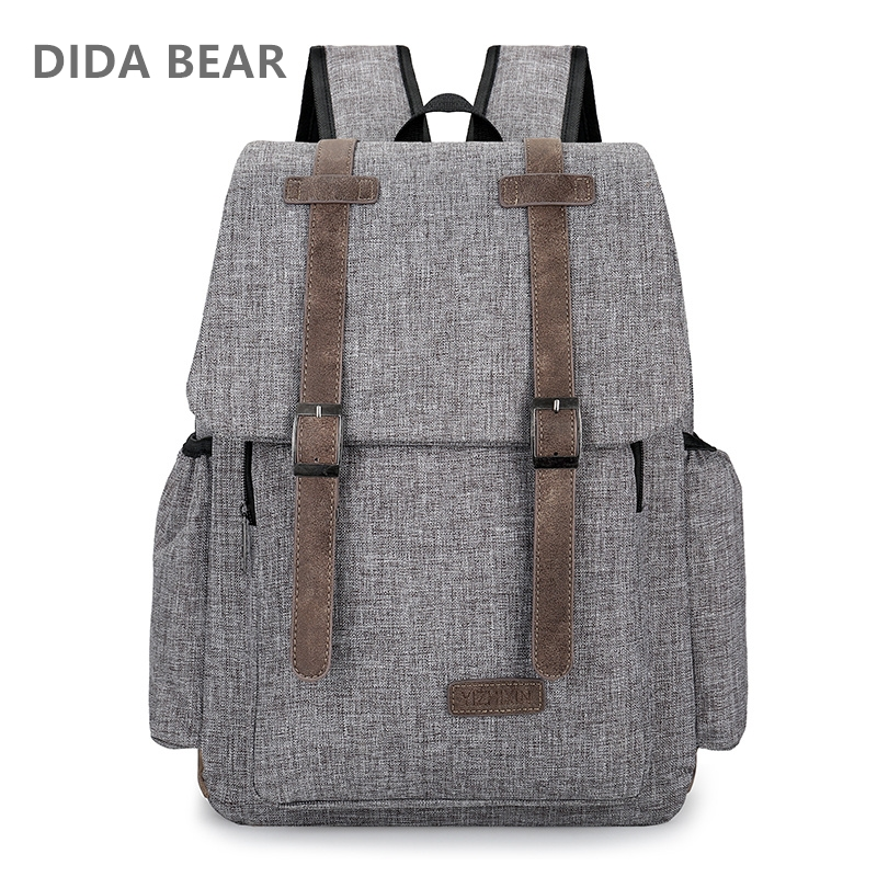 2018 Women Men Canvas Backpacks Large School Bags For Teenager Boys Girls Travel Laptop Backbag Mochila Rucksack Gray Black Red dida bear fashion canvas backpacks large school bags for girls boys teenagers laptop bags travel rucksack mochila gray women men