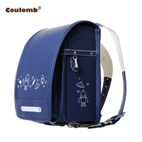 Coulomb Character Backpack For Boys School Bags Orthopedic Satchel UFO Black&Blue PU Leather Student Backpacks For Kid Baby Bags