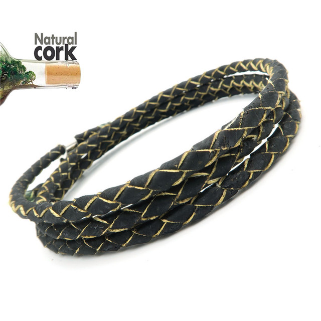 Potuguese Natural Cork 5mm Braided Black Leather Jewelry Supplies Cord