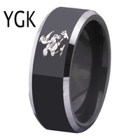 Free Shipping Customs Engraving Ring Hot Sales 8MM Black With Shiny Edges Maimi Hurricanes Design Tungsten