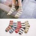 New quality cotton autumn winter thick thermal college style contrast color stripes knitting casual women brand harajuku socks