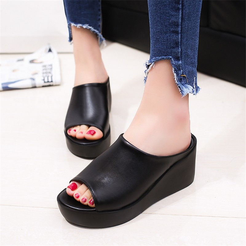 Summer Women Sandals 2018 New Fashion pu leather Casual Leisure shoes sandals female platform Fish Mouth Thick Bottom Slippers students female sandals fashion 2017 fish mouth shoes denim girl with thick bottom wedges sponge soles casual and comfortable