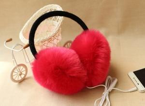 Image 3 - New Arrival Plush headphones winter Headset ear warmer earmuffs music Cartoon earmuffs Headphone for Girls