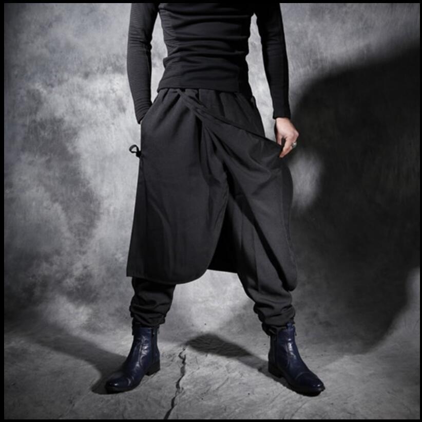 7eed93f65 27-44 Осенне-зимняя обувь Новые мужские повседневные штаны личности юбка  поддельные две ночные клубы прилив свободные штаны-шаровары брюки