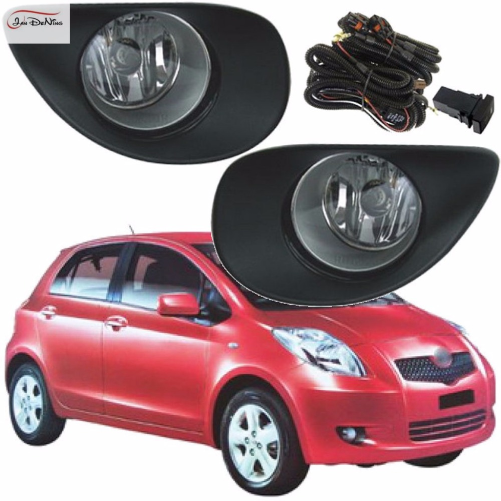 JanDeNing Car Fog Lights For Toyota Yaris Hatchback / Vitz 2006 ~ 2008 Front Fog Lamp Cover Trim Replace Assembly kit (one Pair) fog lights lamp for toyota yaris senda 2006 belta vios 2007 clear lens pair set wiring kit fog light set