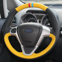 leather hand Top Leather Steering Wheel Hand-stitch on Wrap Cover For Ford Fiesta 08-13 Ecosport 13-16 (4)