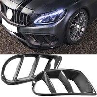 Для C43 AMG углеродного волокна переднего бампера вентиляционное отверстие Выход Обложка отделка сетки гриль для Mercedes C Class W205 C43 AMG C250 C200 15 19