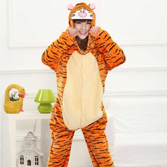 Кигуруми Тигр с длинным рукавом капюшоном комбинезоны зима Kegurumi  Домашняя одежда теплый комбинезон для Взрослых Цельный 18e81856b4cfa
