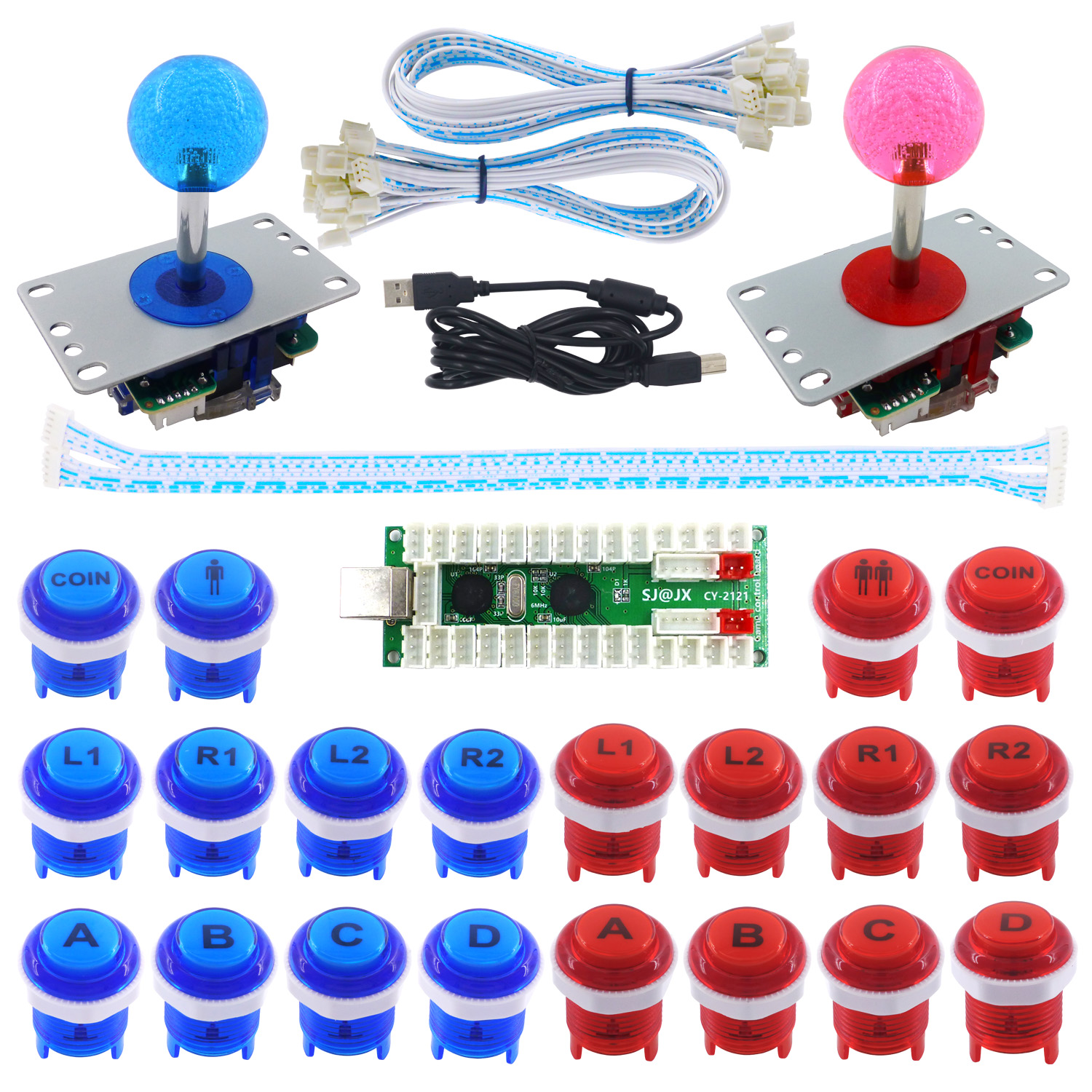 SJ@JX 2 Player Arcade Game DIY Kit LED Button Controller 8 Way Joystick USB Encoder for PC MAME Retro