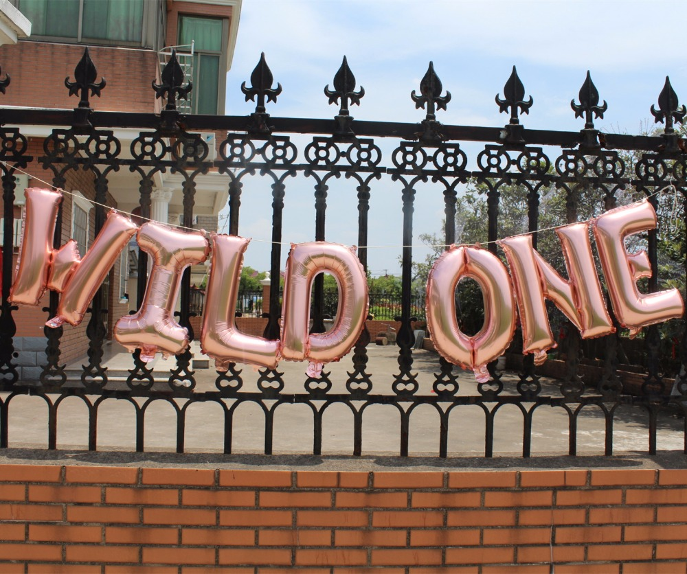 Wild One Banner First Birthday party decoration rose gold balloon hanging banner ONE IS FUN