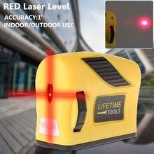360 градусов лазерный уровень самонивелирующийся 2 линии 1 точка Горизонтальная и вертикальная красная мера