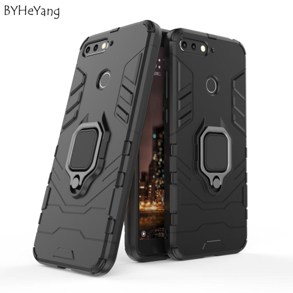 BYHeYang Luxury Armor <font><b>Case</b></font> for <font><b>Huawei</b></font> Honor 7A Pro <font><b>case</b></font> Metal Ring Bracket Cover for <font><b>Huawei</b></font> <font><b>Y6</b></font> Prime <font><b>2018</b></font> <font><b>case</b></font> <font><b>360</b></font> Full Fundas image