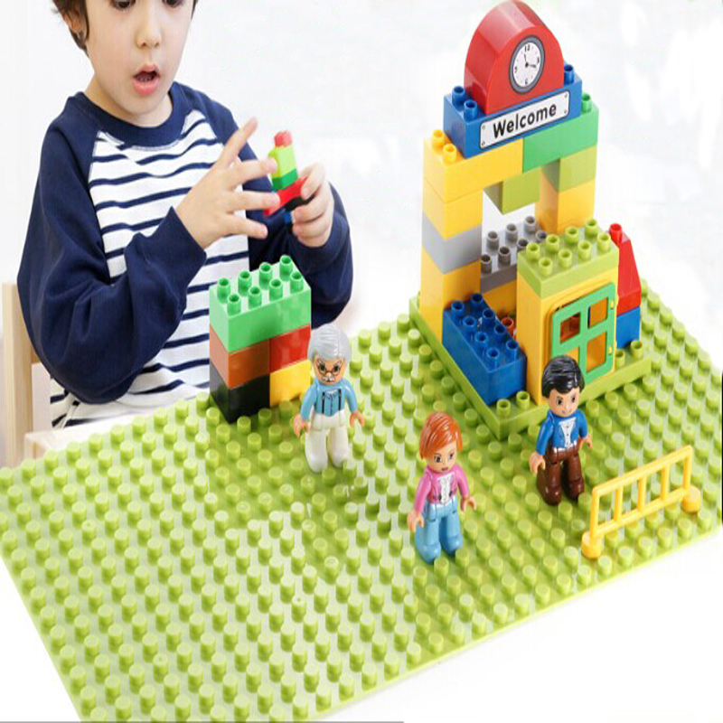 1pcs Big Blocks Base Plate 32*16 Dots Size 51*25 cm Baseplate Compatible Duploe 1pc 24 17 dots big building blocks baseplate 38 27cm bricks base plate compatible with duploe kids diy toys