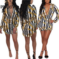 S XXXL IMYSEN Spring Autumn Fashion Printed Blouses Women Plus Size Blouse Tops Lapel Collar Long