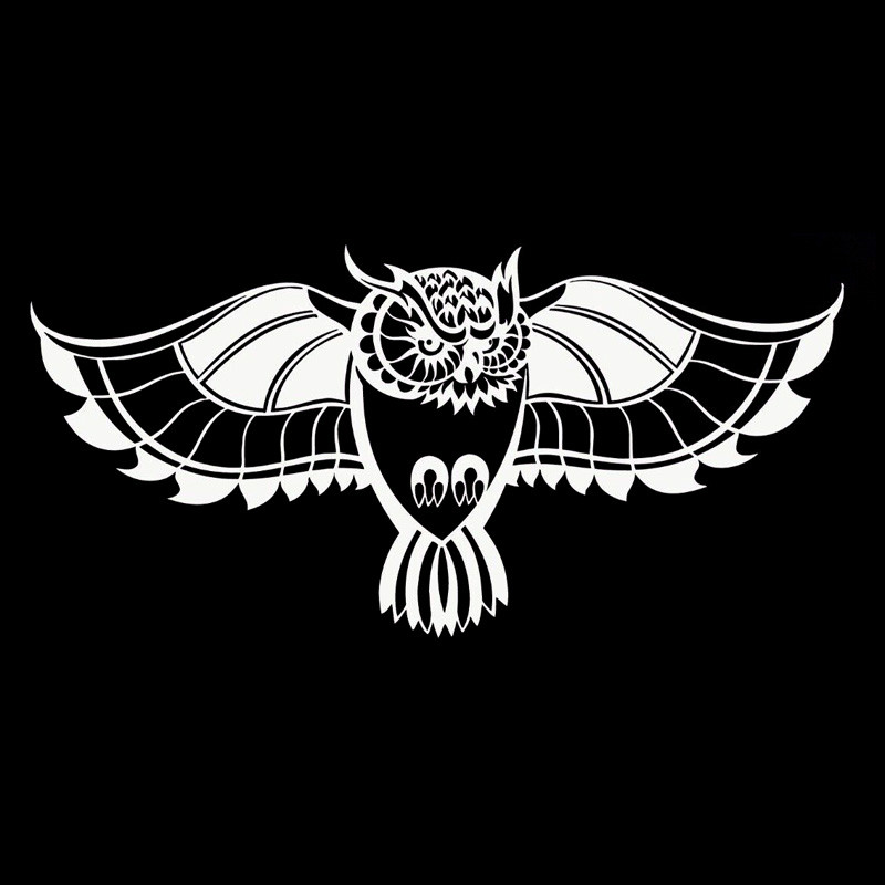Owl Tribal Black White Car Vinyl Sticker SELECT SIZE