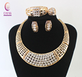 Fine African Beads Jewelry Set For Women Party Wedding Accessories Bridal Pendant Full Rhinestone Necklace Earrings Bangle Rings