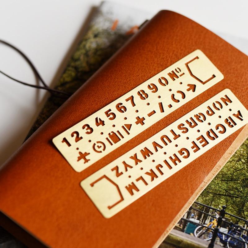 Vintage Metal Bookmark Creative Doodle DIY Tool Stencil Ruler Traveler