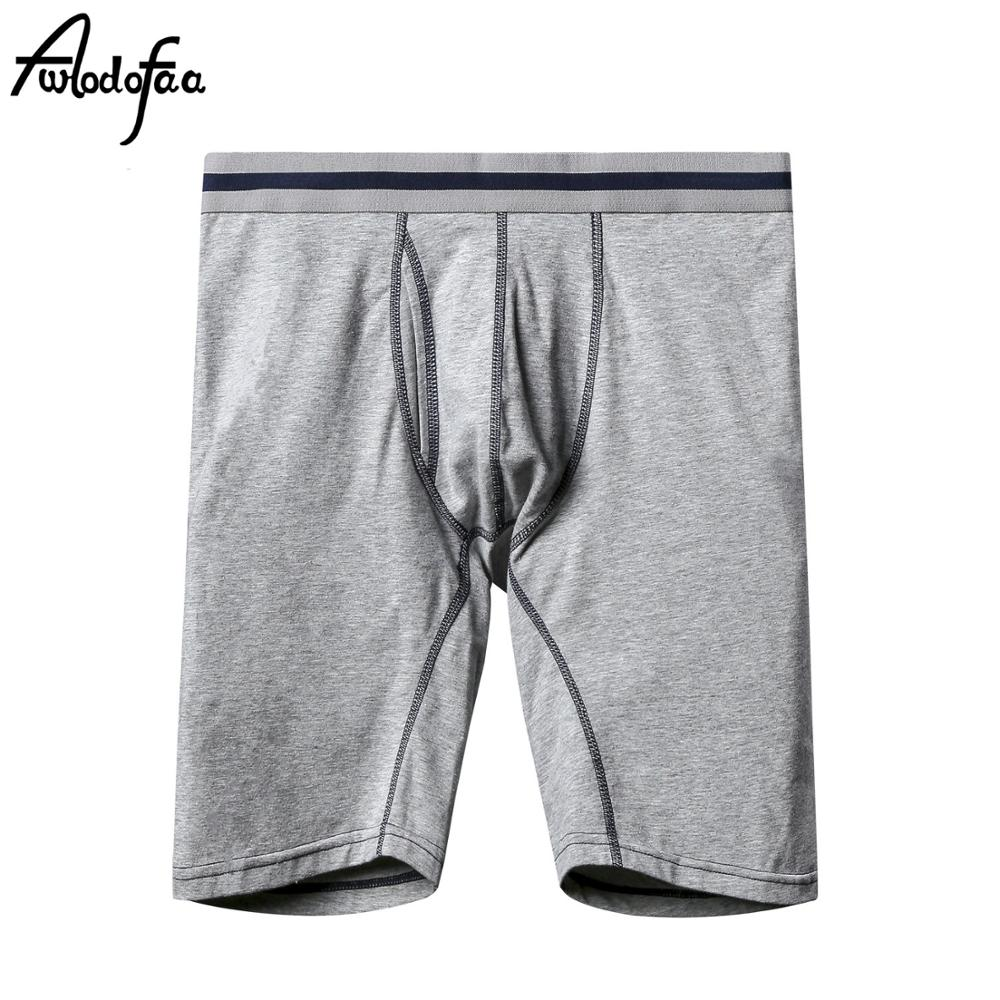 Awodofaa Brand Quality Long Shorts Mens Underwear Soft Boxers Cotton Boxer Men Solid Boxer Shorts Plus Size Boxers Men Underwear