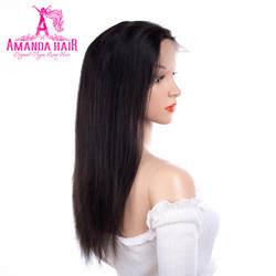 Аманда Малайзии Прямые Волосы remy парики Full Lace 150 Плотность средняя Размеры человеческих волос парики с регулируемыми ремнями натуральный
