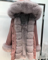 Women real fur parka winter warm natural large fox fur coat with real rex rabbit fur liner coat winter jacket