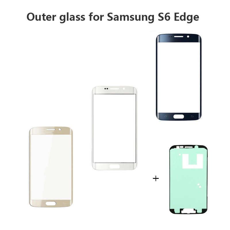الجبهة الخارجي غطاء لعدسات النظارة قطع غيار سامسونج غالاكسي S6 S7 حافة G925 G935 G935F G935FD LCD الزجاج S7 S6 حافة مع لاصق