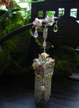 Ebony Black Sanderwood Flower Lantern classical handmade hair stick vintage original hair accessory hair stick