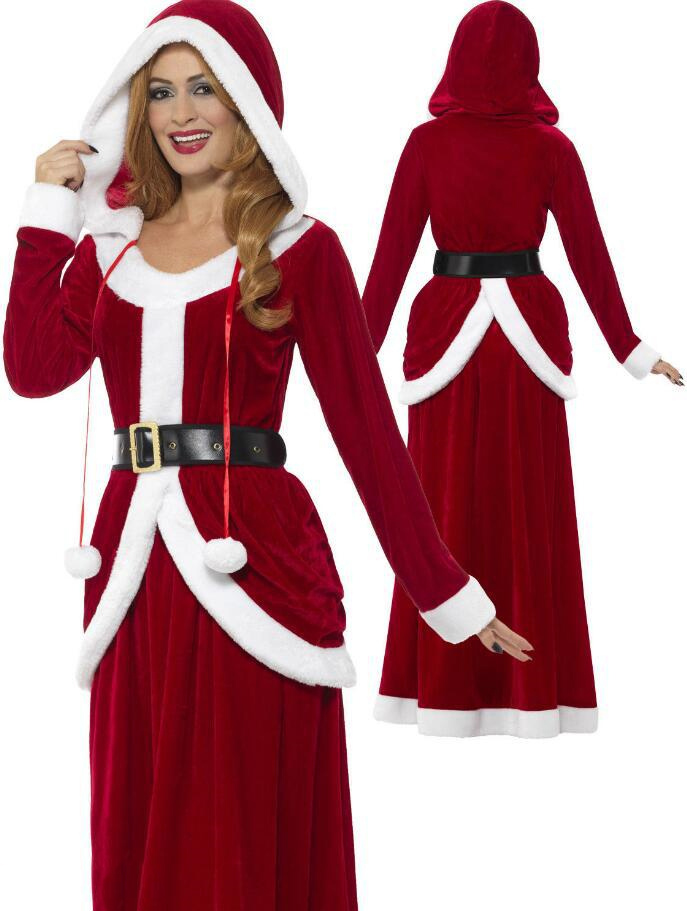 Deluxe Velvet Merry Christmas XMAS Fancy Dress Adult Women Santa Claus Long Dress Hooded Costume Outfit