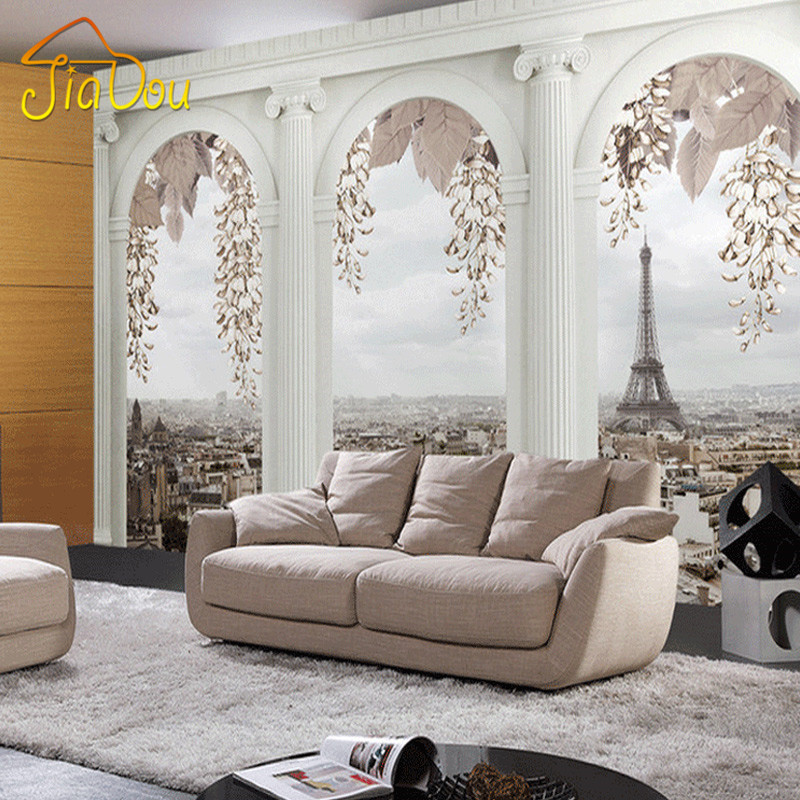 Custom 3d mural wallpaper roman column 3d photo for 3d photo wallpaper for living room