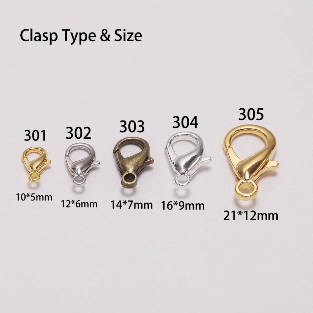 50pcs/lot Gold Silver Lobster Clasp Hooks Connector For DIY Necklace Bracelet Chain Jewelry Making Findings Accessory Supplies50pcs/lot Gold Silver Lobster Clasp Hooks Connector For DIY Necklace Bracelet Chain Jewelry Making Findings Accessory Supplies