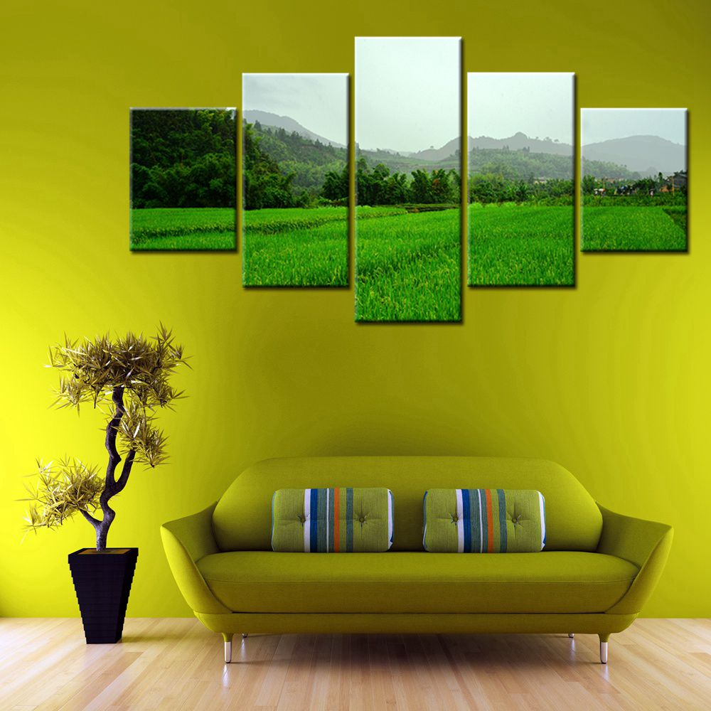 Large Verdant Countryside Landscape Poster Pastoral Green Trees Wall ...