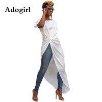 Irregular Split Long Shirt Dress Streetwear Short Sleeve Slash Neck Black/ White Front Short Back Long Tee High Street Outfits