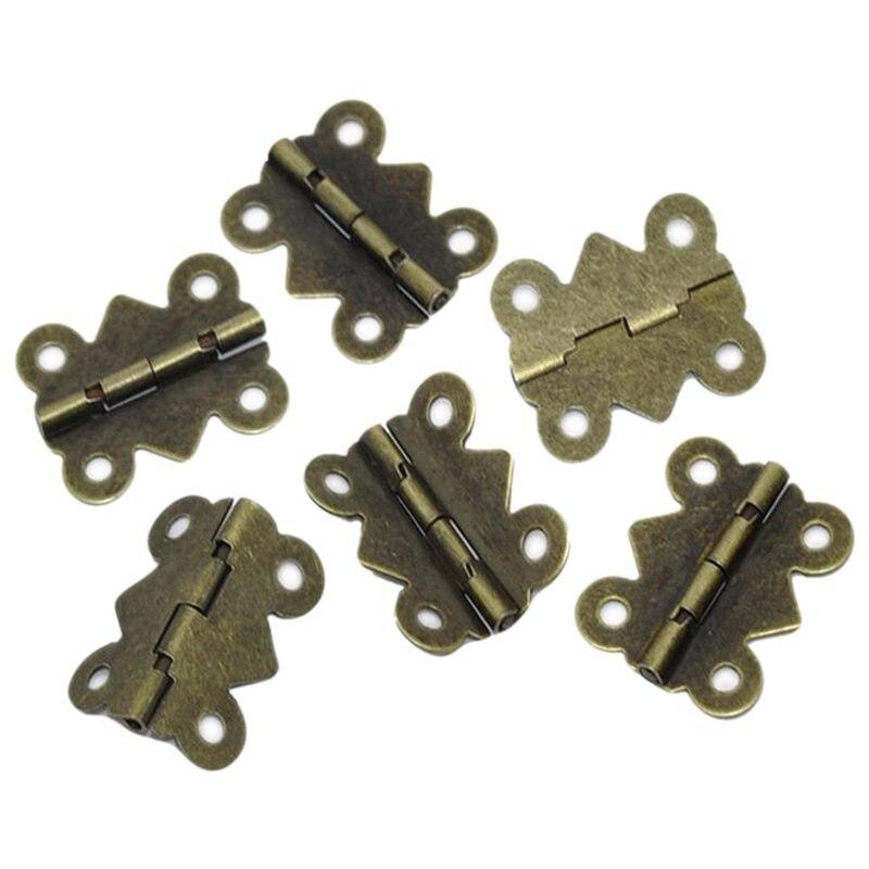 50 Pcs Tür Scharnier 4 Löcher Schmetterling Bronze Tone 20x24mm