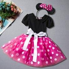 Платье для маленьких девочек; платья с Минни Маус для девочек; одежда для дня рождения; платье принцессы; детская одежда; платье+ повязка на голову