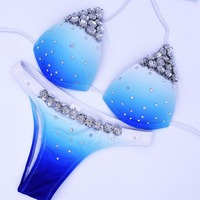 Almostlover1209 New Crystal Diamond Bikini Blue Sexy Rhinestone Swimsuit Women Halter Backless Jeweled Swimwear Bathing Suit