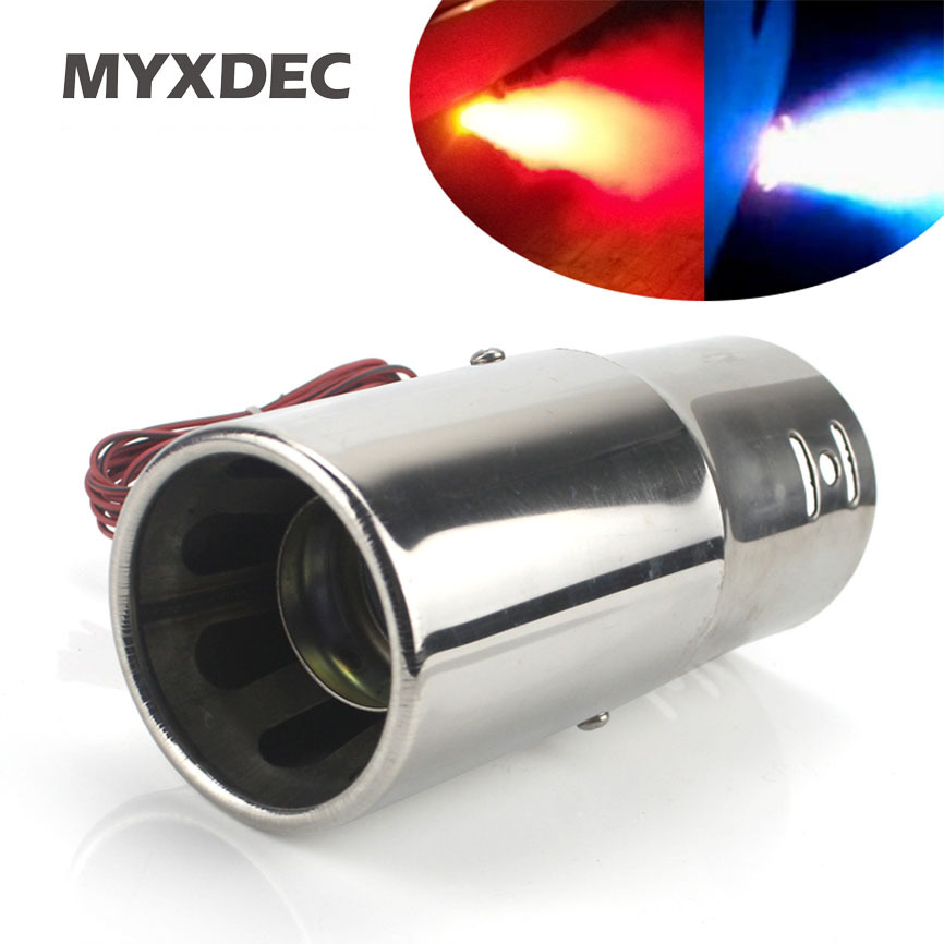 Universal Car Stainless Steel Spray Device Light Tail Throat Exhaust Red Blue Leds Modified Flame Spray