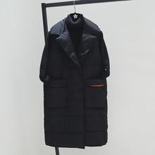 Grande taille XL femmes hiver gilets 2018 nouveau moyen Long gilet coton rembourré veste sans manches femme revers gilet gilet