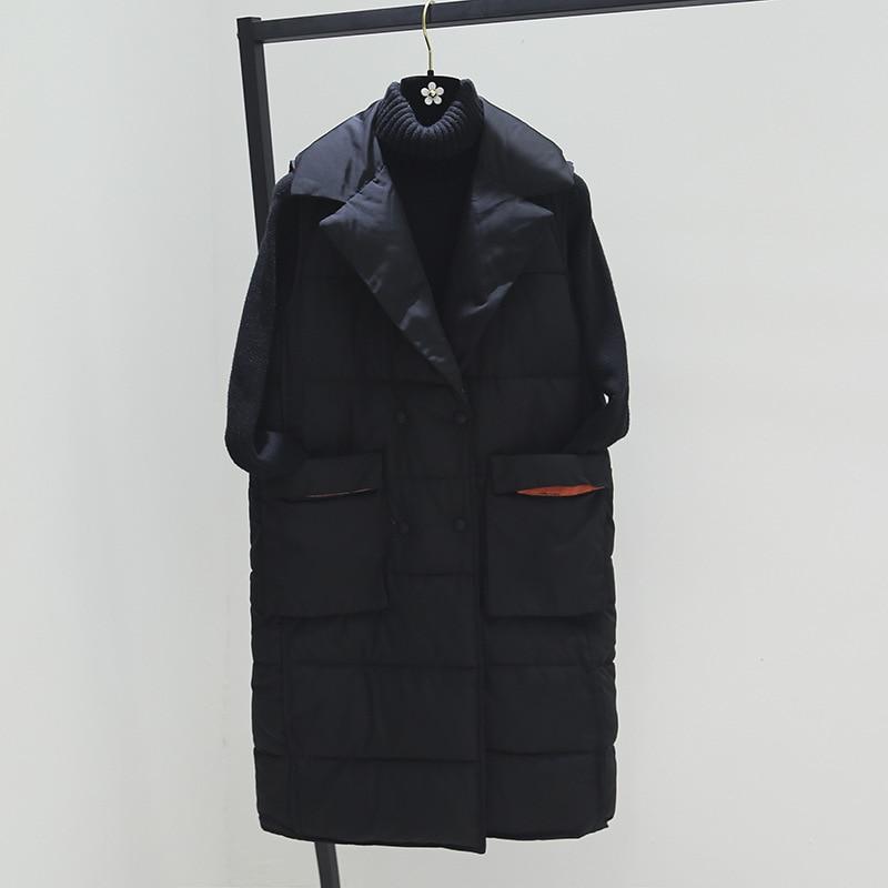 Plus Size XL Women Winter Vests 2018 New Medium Long Vest Cotton Padded Jacket Sleeveless Female Lapel Waistcoat Vest