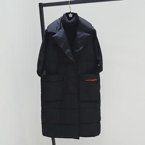 Image 1 - Plus Size XL Women Winter Vests 2018 New Medium Long Vest Cotton Padded Jacket Sleeveless Female Lapel Waistcoat Vest