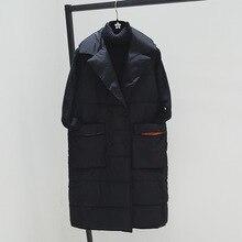 Плюс размеры XL для женщин зимние вязаные жилеты для Новинка 2018 года куртка средней длины хлопковая стеганая куртка без рукавов женский с лацканами