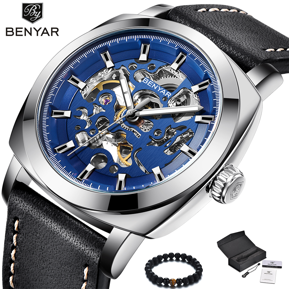 Benyar Luxury Brand 2018 New Perspective Automatic Mechanical Watches Men Leather Band Blue Military Sport WristWatch For MenBenyar Luxury Brand 2018 New Perspective Automatic Mechanical Watches Men Leather Band Blue Military Sport WristWatch For Men